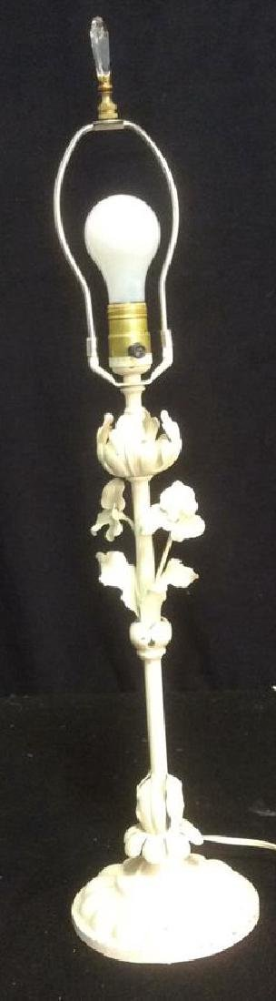Vintage Toll Iron White Table Lamp Vintage Shabby Chic - 7