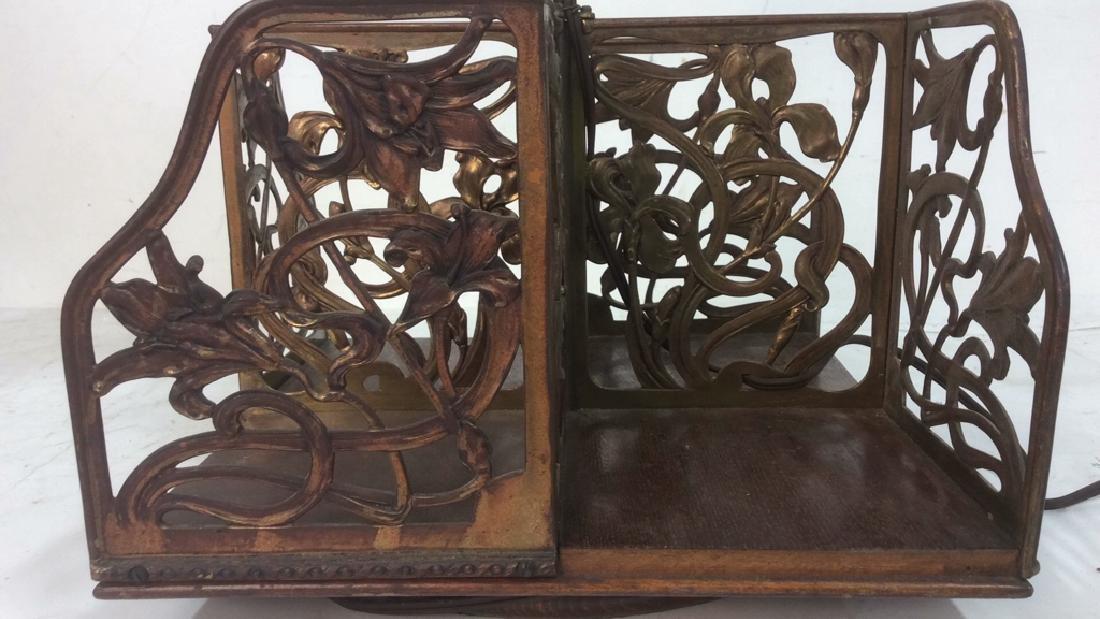 Vintage Art Nouveau Filigree Brass and Wood Lamp Unique - 2