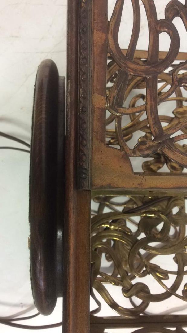 Vintage Art Nouveau Filigree Brass and Wood Lamp Unique - 4