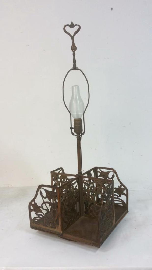 Vintage Art Nouveau Filigree Brass and Wood Lamp Unique - 6