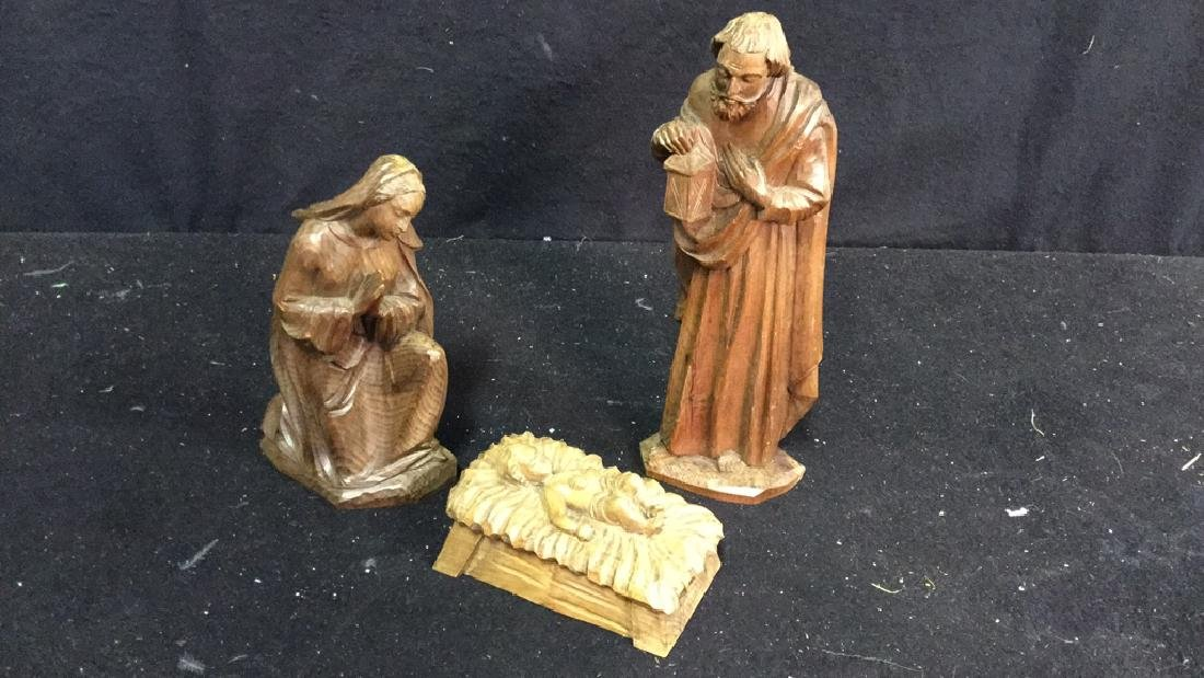 Set Of Wooden Religious Figures Set of 3 carved, wooden
