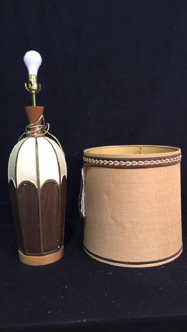 Vintage Ceramic And Wood Table Lamp Leviton  table tamp
