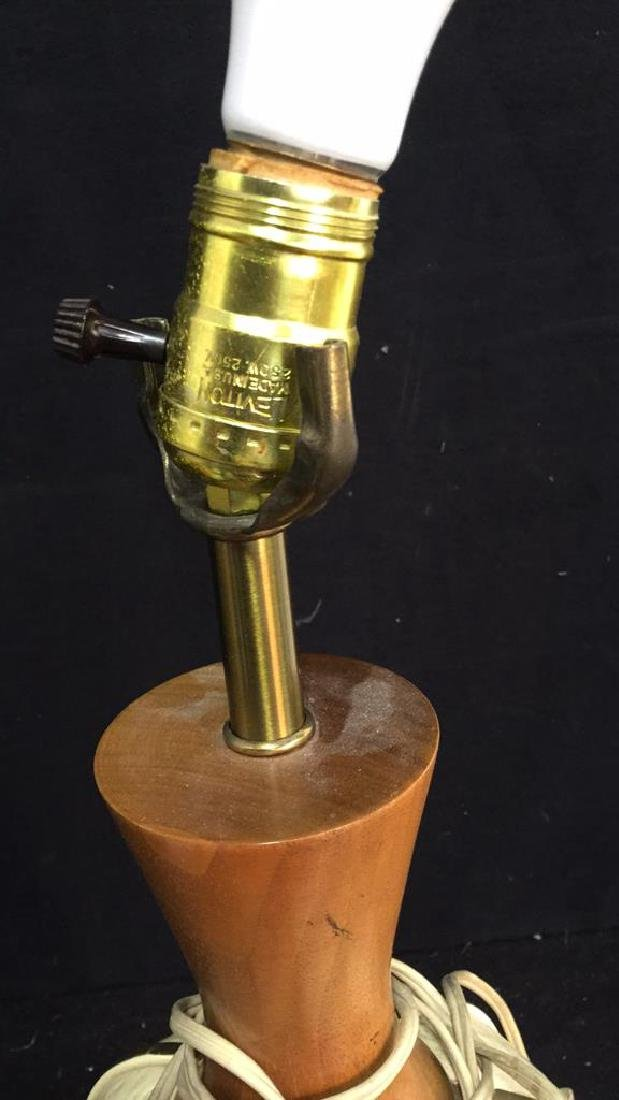 Vintage Ceramic And Wood Table Lamp Leviton  table tamp - 6