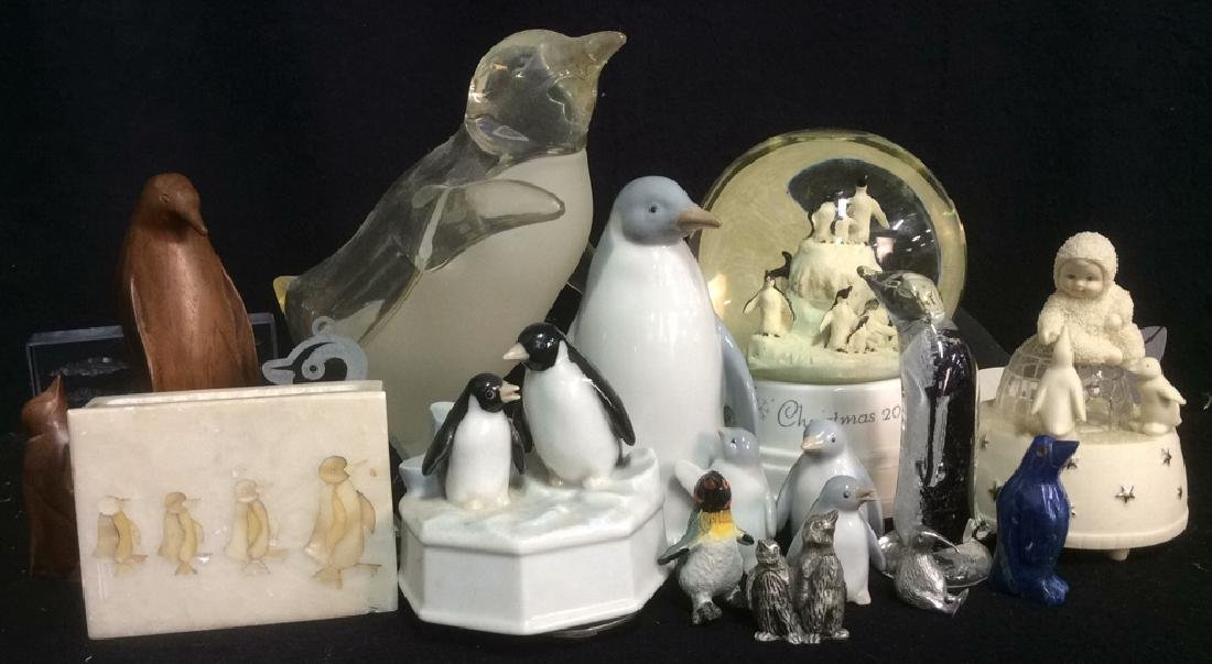 Group Lot Penguin Figurines Glass Stone Wood Metal - 2