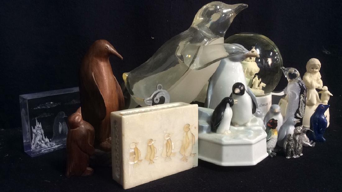 Group Lot Penguin Figurines Glass Stone Wood Metal - 3