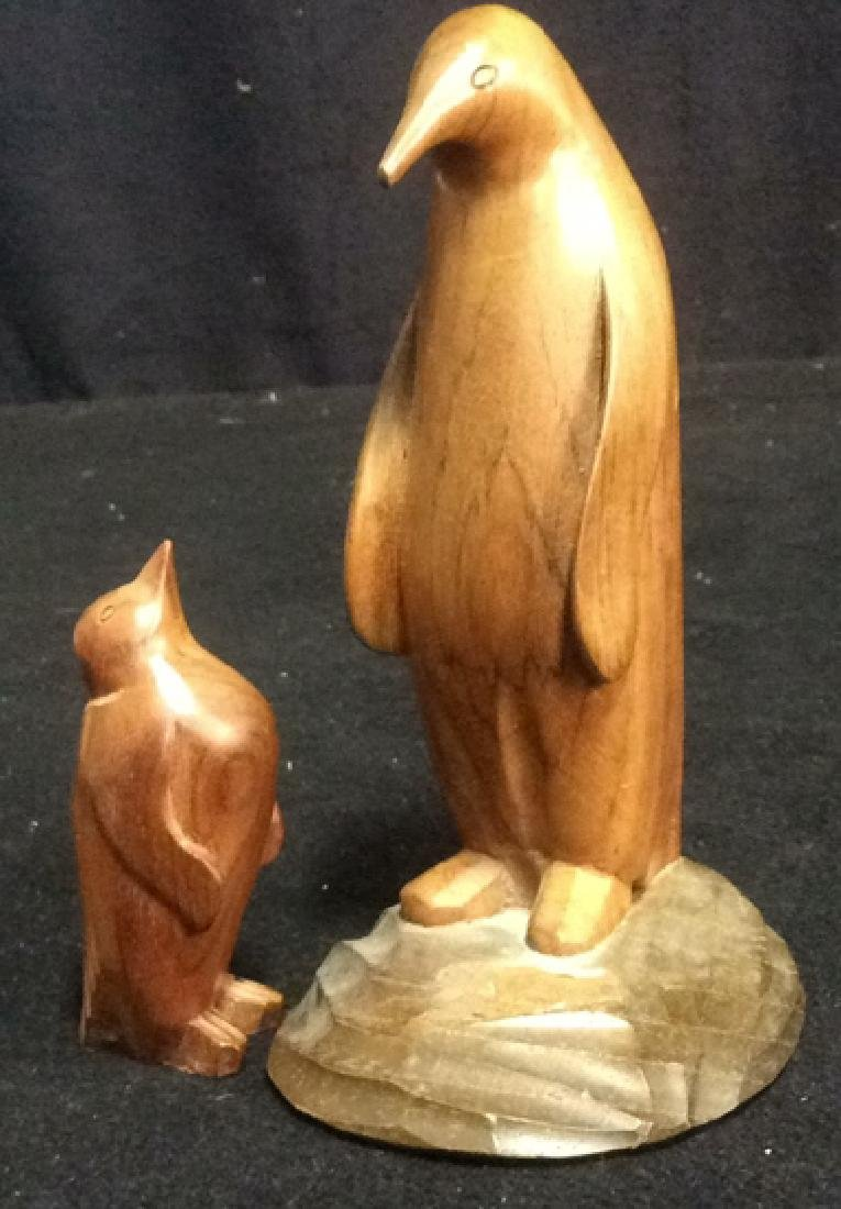 Group Lot Penguin Figurines Glass Stone Wood Metal - 6