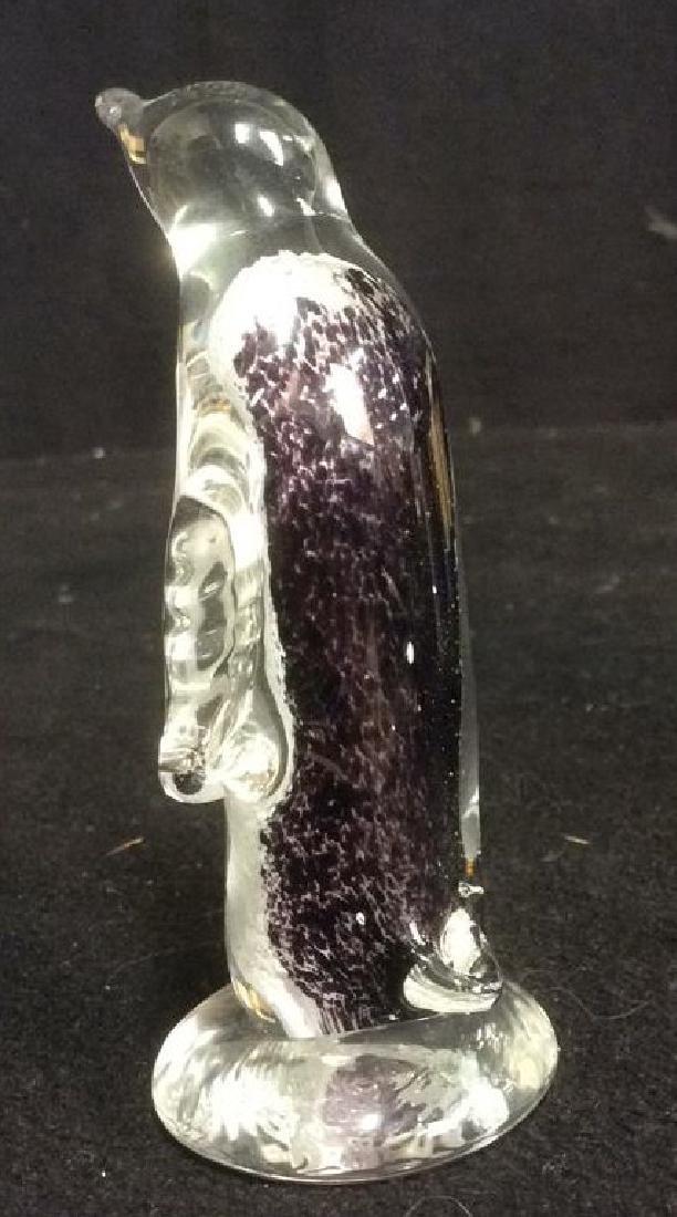Group Lot Penguin Figurines Glass Stone Wood Metal - 9