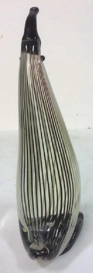 Penguin Glass Sculpture Striated - 3