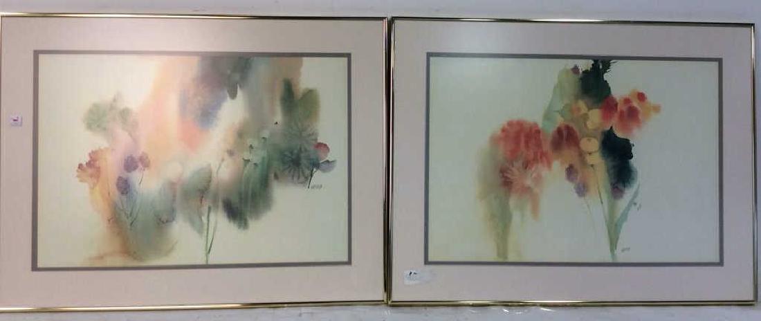 Nechis watercolors, pair signed artworks - 2