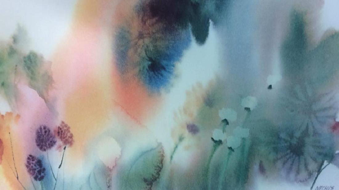Nechis watercolors, pair signed artworks - 4