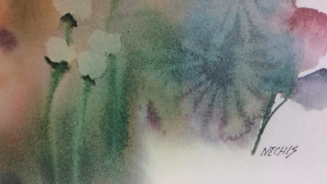 Nechis watercolors, pair signed artworks - 5