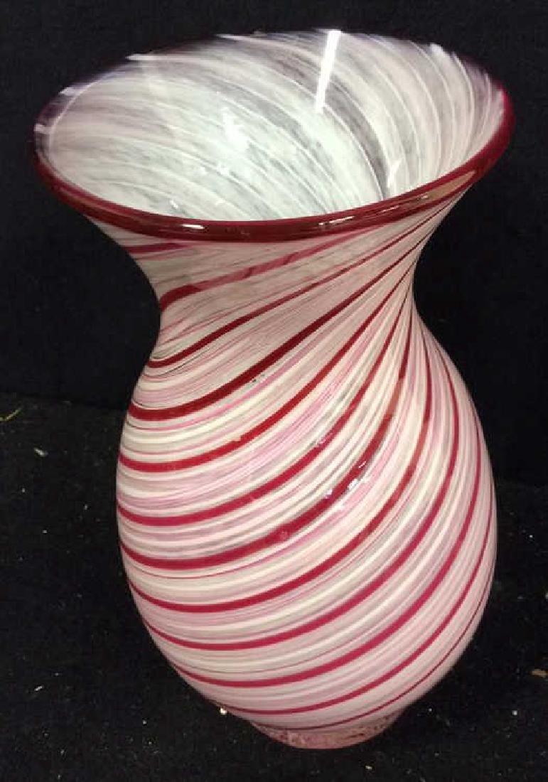 Art Glass Swirled  Red White Vase - 2