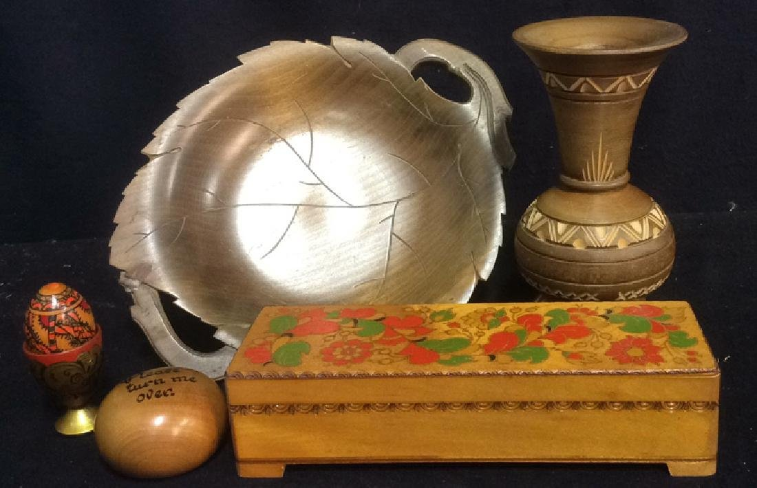 Group Lot Wood Carved Painted Desk Accessories