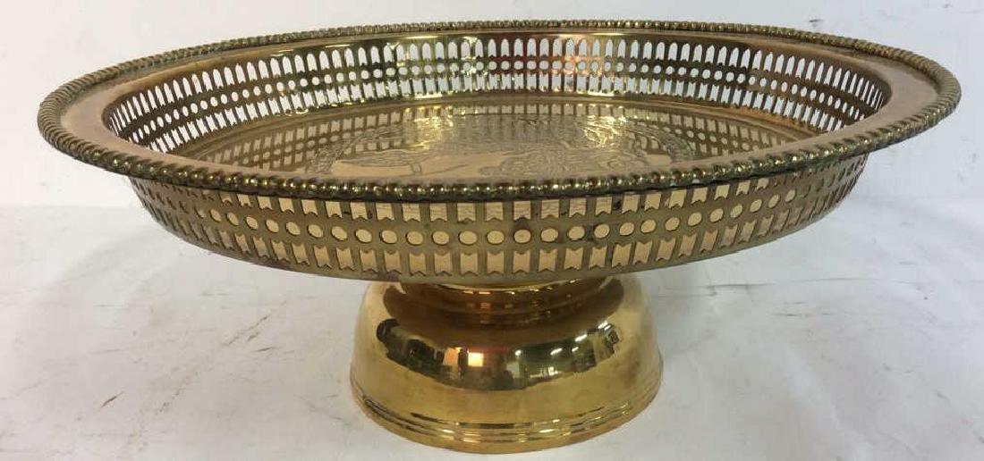 Embossed brass Centerpiece Pedestal Bowl