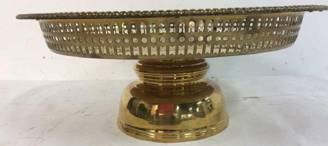 Embossed brass Centerpiece Pedestal Bowl - 2