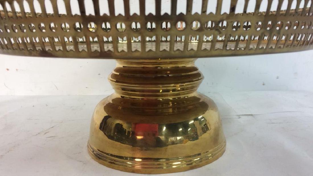 Embossed brass Centerpiece Pedestal Bowl - 3