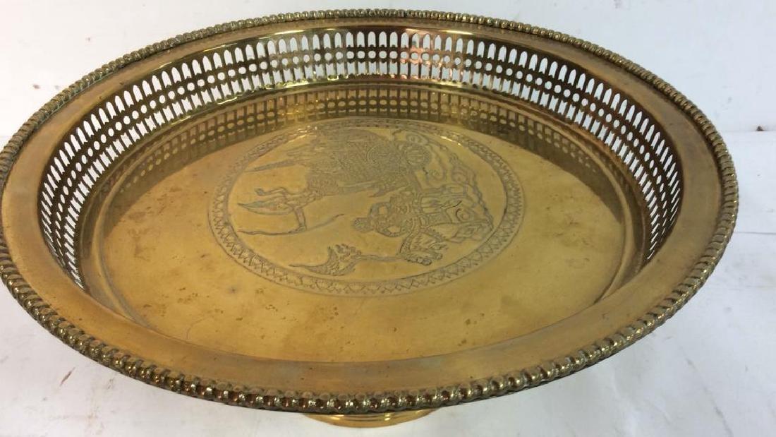 Embossed brass Centerpiece Pedestal Bowl - 4