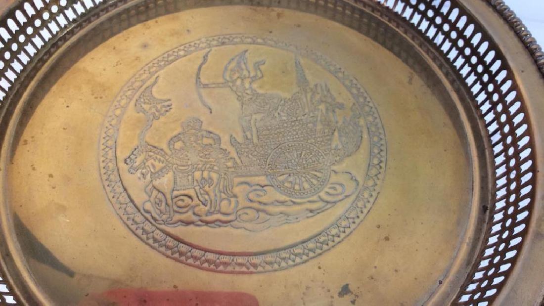 Embossed brass Centerpiece Pedestal Bowl - 5