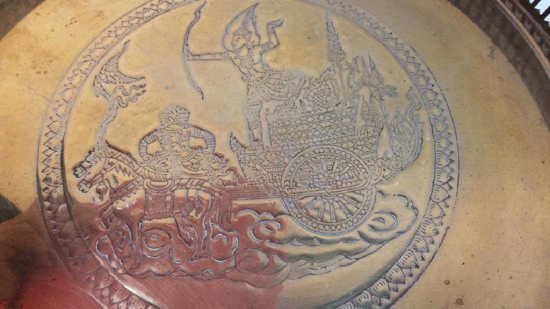 Embossed brass Centerpiece Pedestal Bowl - 6