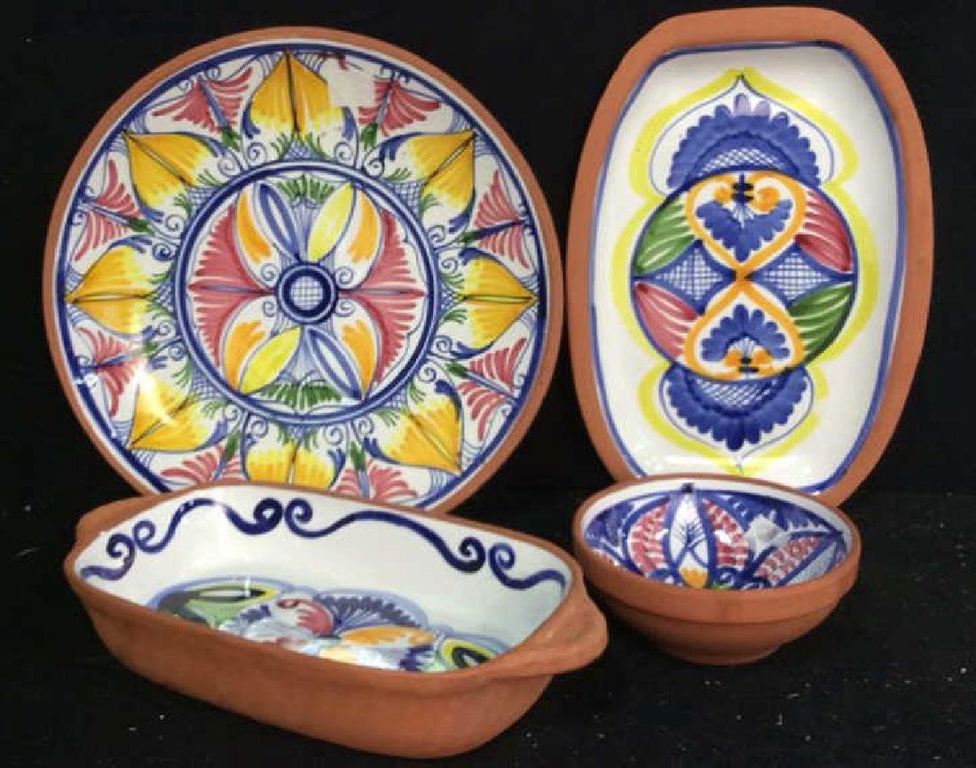 Set 4 hand painted Glazed Pottery Platters Spain - 2