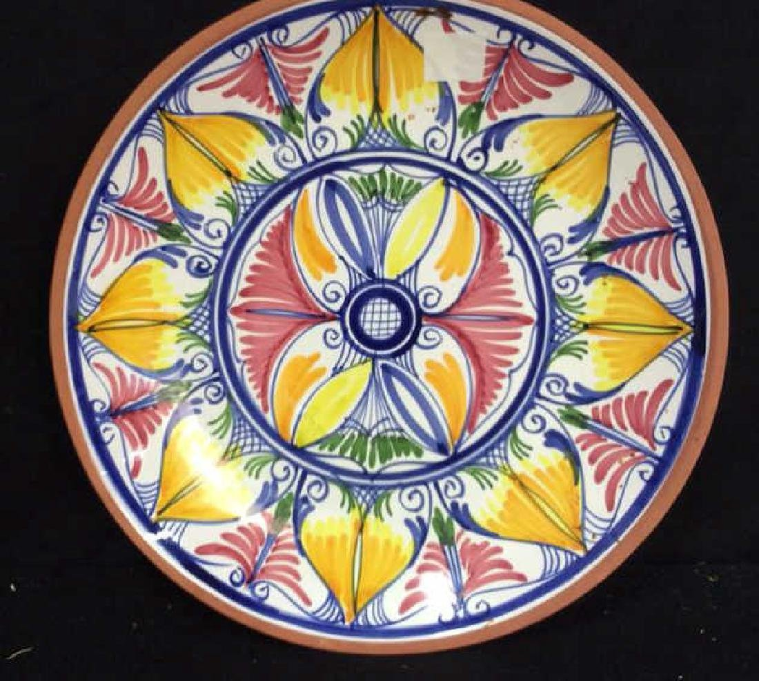 Set 4 hand painted Glazed Pottery Platters Spain - 3