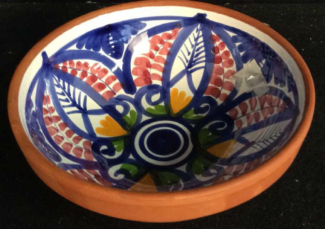 Set 4 hand painted Glazed Pottery Platters Spain - 5