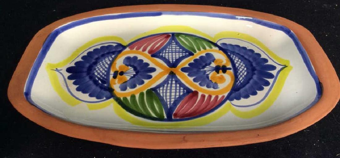Set 4 hand painted Glazed Pottery Platters Spain - 6