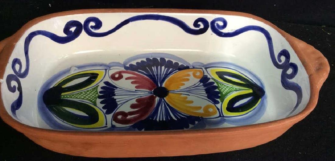Set 4 hand painted Glazed Pottery Platters Spain - 7