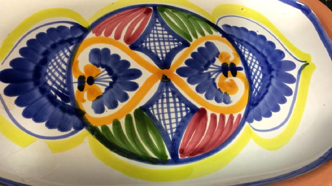 Set 4 hand painted Glazed Pottery Platters Spain - 8
