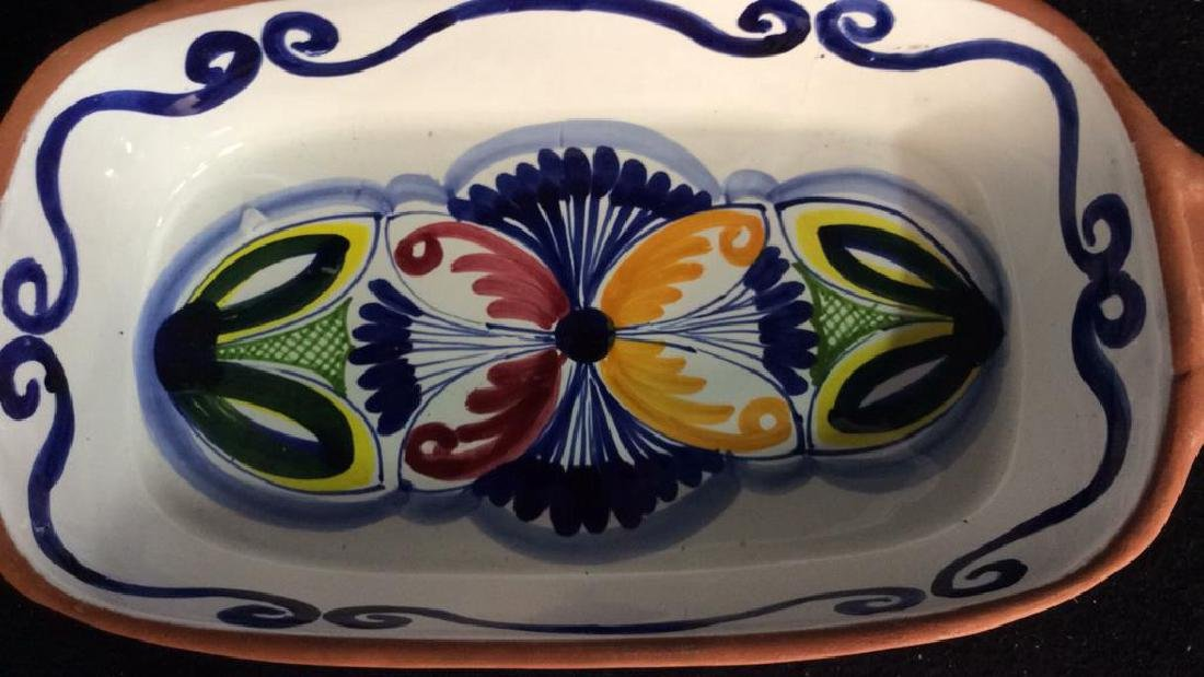 Set 4 hand painted Glazed Pottery Platters Spain - 9