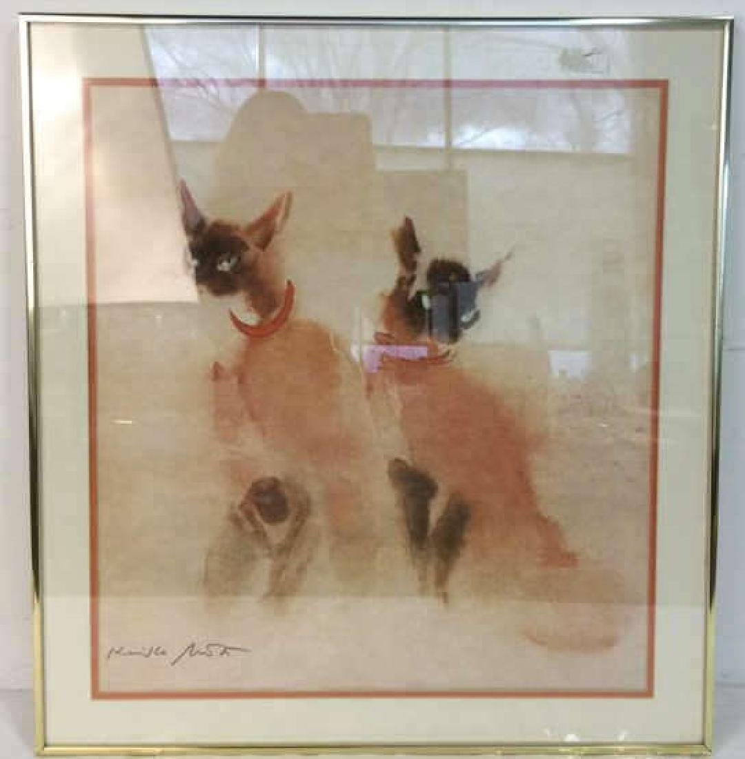 Vintage Signed Siamese Cats Artwork