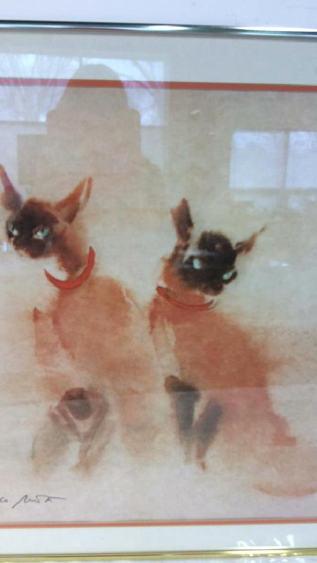 Vintage Signed Siamese Cats Artwork - 3
