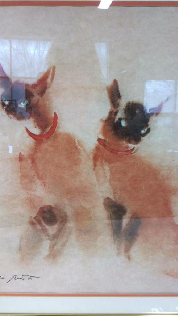 Vintage Signed Siamese Cats Artwork - 7