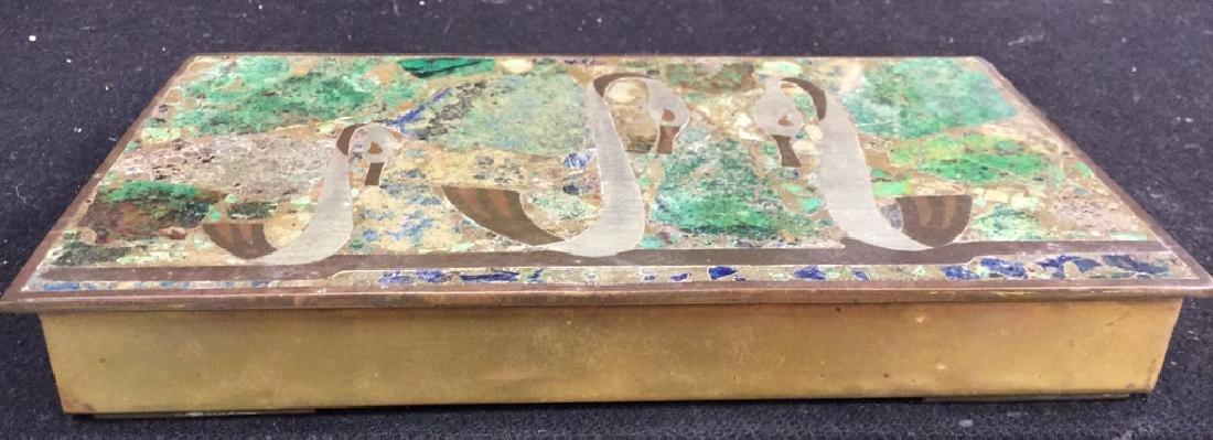 Vintage Brass Inlaid Box - 3