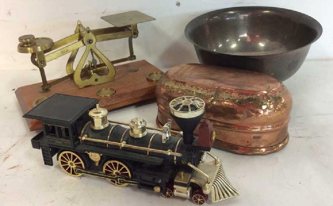 Vintage Brass Scale, Copper Bowl, train SP bowl - 2