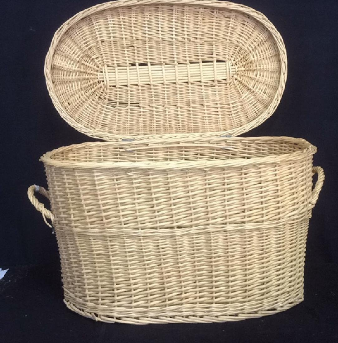 Lidded Double Handled Wicker Storage Basket