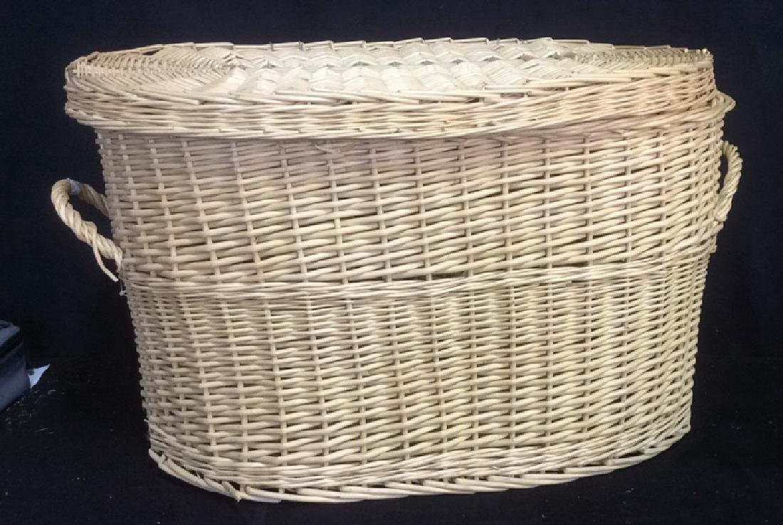 Lidded Double Handled Wicker Storage Basket - 2