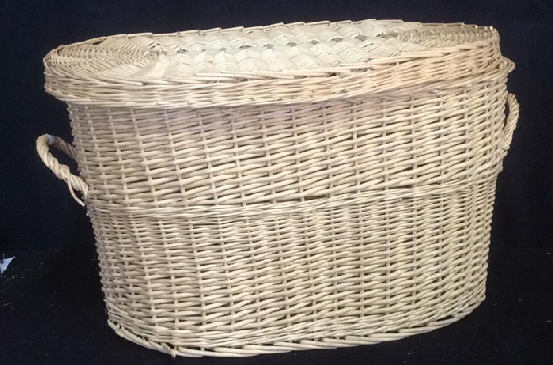 Lidded Double Handled Wicker Storage Basket - 3