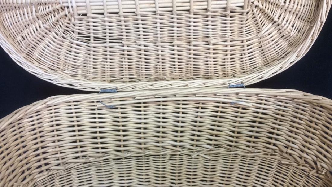Lidded Double Handled Wicker Storage Basket - 4