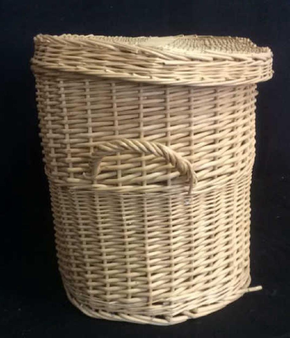 Lidded Double Handled Wicker Storage Basket - 5