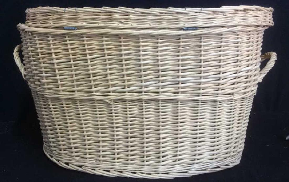 Lidded Double Handled Wicker Storage Basket - 7
