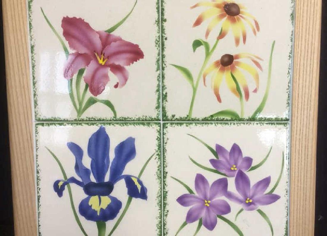 Floral Tile and Wood Table Top Lazy Susan - 2