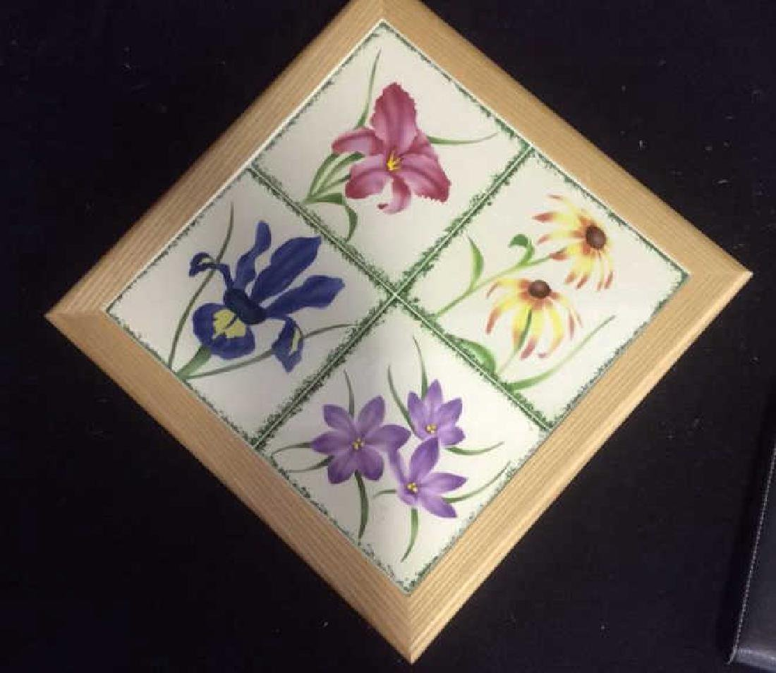 Floral Tile and Wood Table Top Lazy Susan - 8