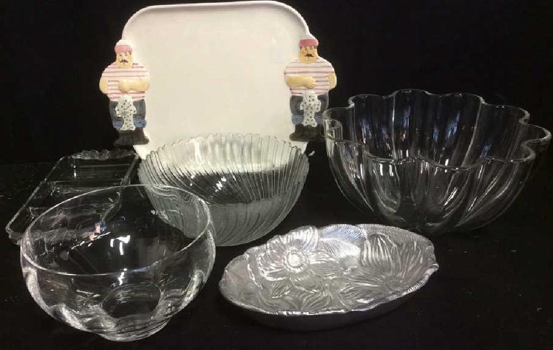 Group Assorted Table Top Glass Metal Ceramic