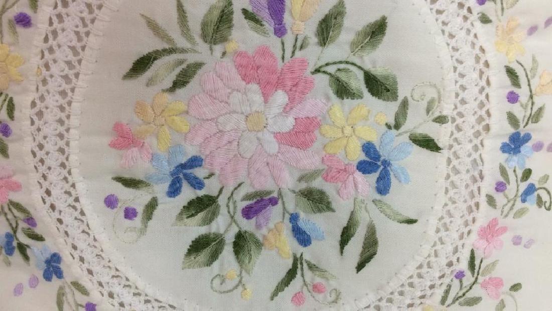 Pair Embroidered White Bedding Throw Pillows
