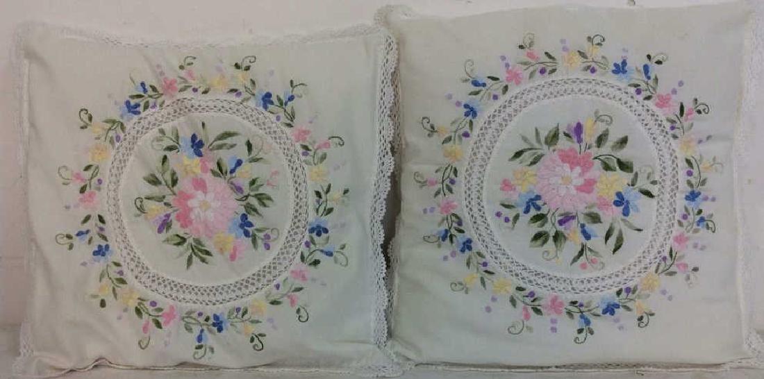 Pair Embroidered White Bedding Throw Pillows - 2