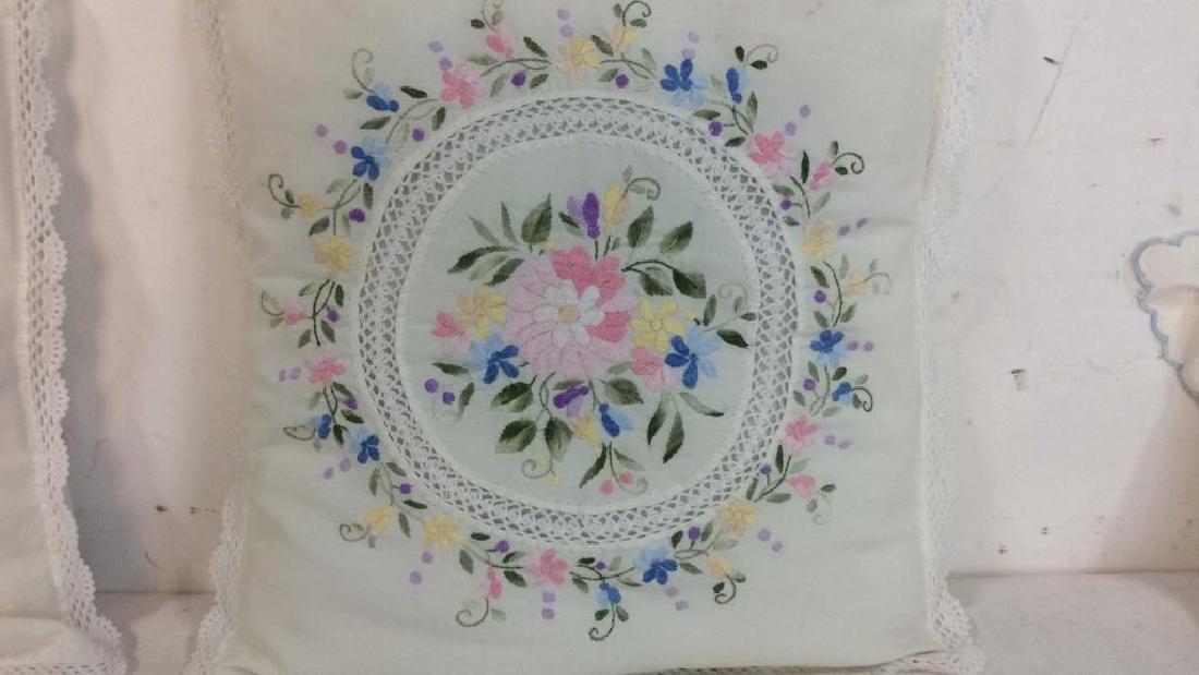Pair Embroidered White Bedding Throw Pillows - 3