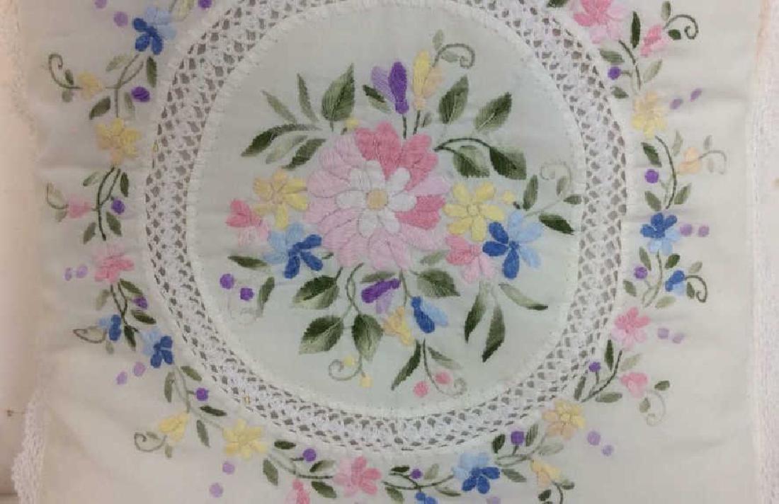 Pair Embroidered White Bedding Throw Pillows - 4