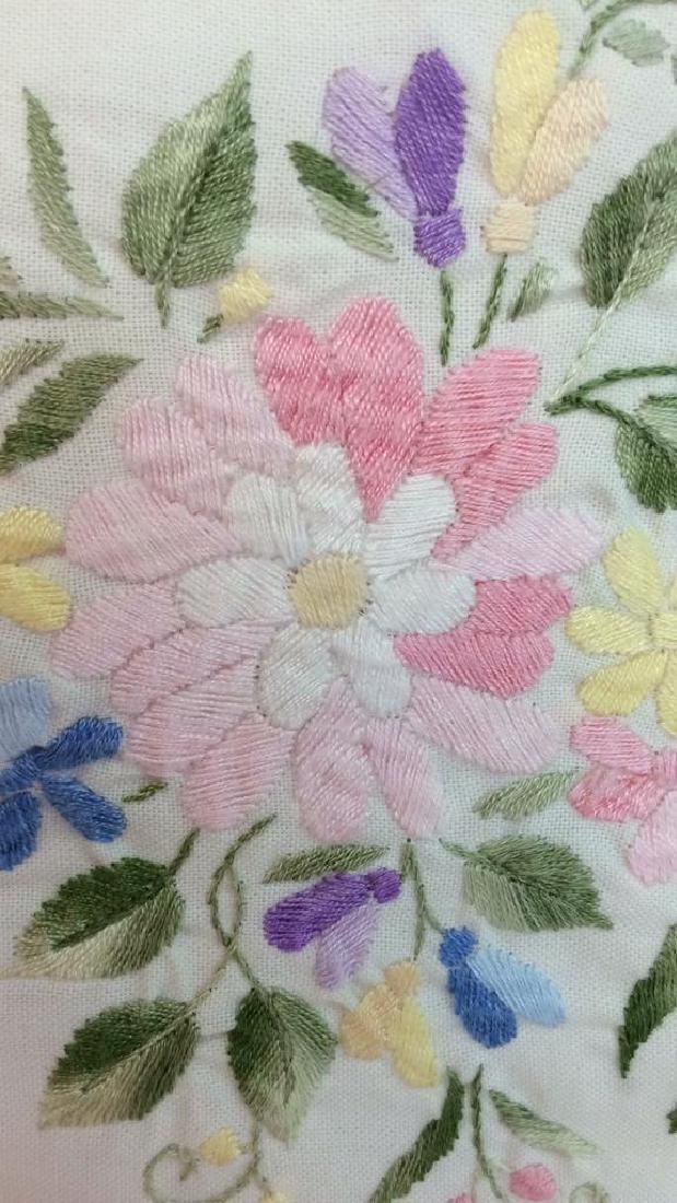 Pair Embroidered White Bedding Throw Pillows - 5