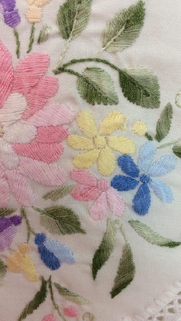Pair Embroidered White Bedding Throw Pillows - 6